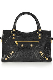 City mini textured-leather tote