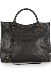 Velo textured-leather tote