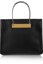 Cable leather tote