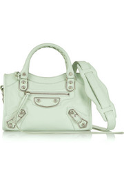 City Mini Classic Metallic Edge textured-leather shoulder bag