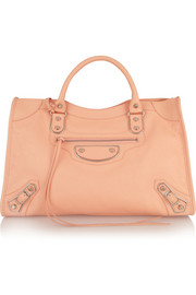 City Classic Metal Edge textured-leather tote