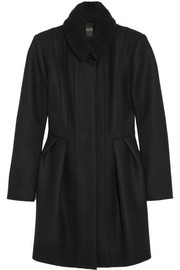 Maje Gardner bouclé-trimmed wool-blend coat