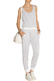 Active space-dyed cotton-blend jersey jumpsuit