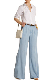 Chambray wide-leg pants