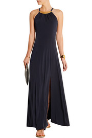 Embellished stretch-jersey maxi dress