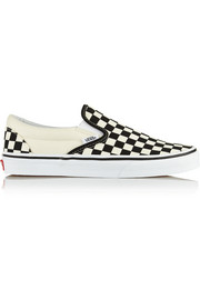 Checked canvas slip-on sneakers