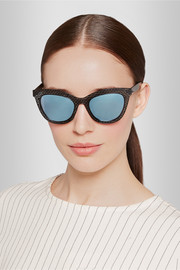 Cat-eye acetate mirrored sunglasses