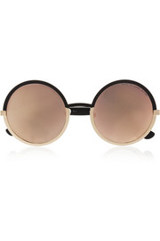 Round-frame acetate mirrored sunglasses