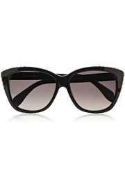 Studded cat eye acetate sunglasses