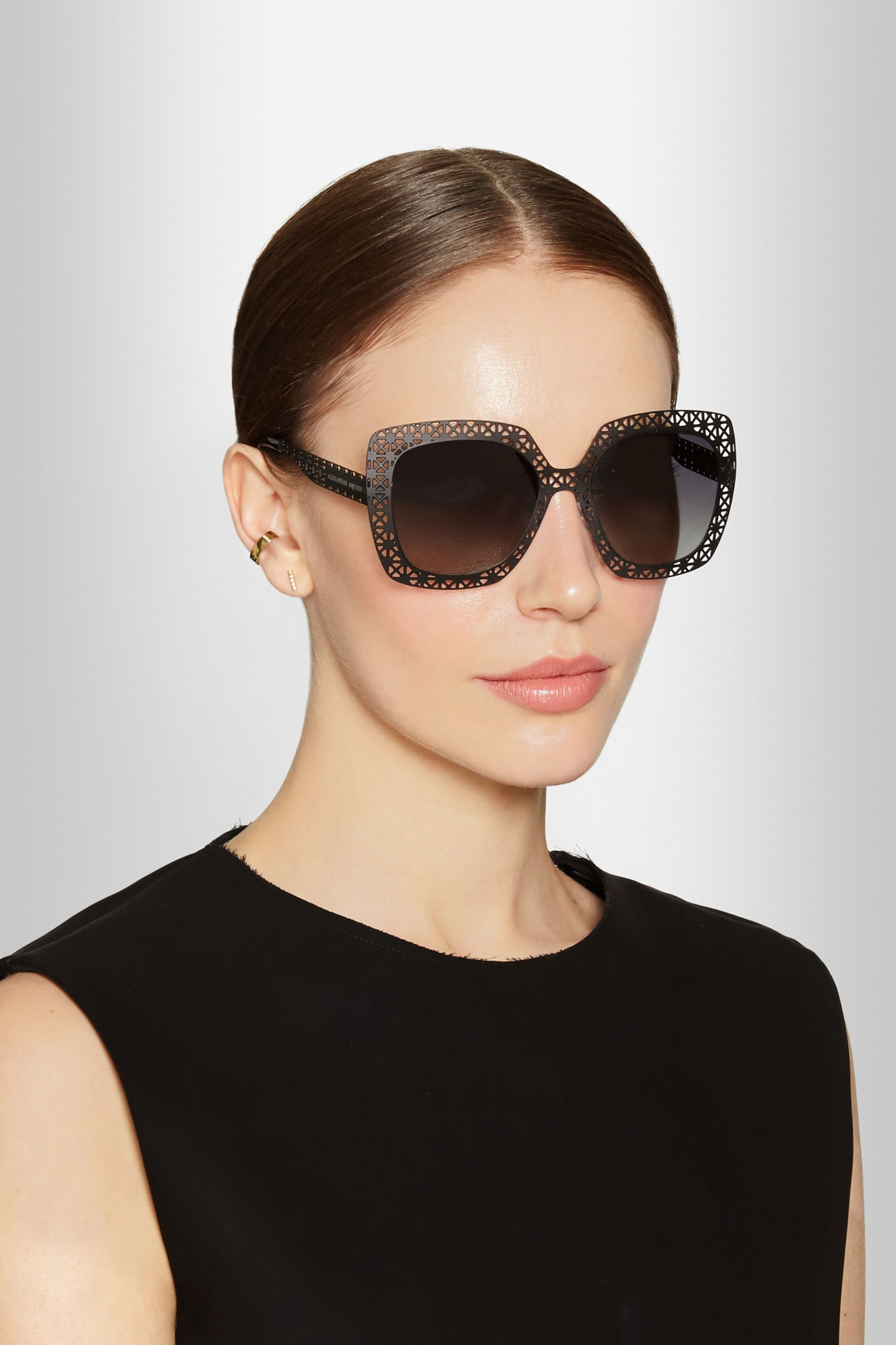 Alexander McQueen Square-frame cutout stainless steel sunglasses