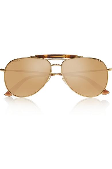 Gucci   Lunettes de soleil aviateur en plaqué or et bambou   NET-A ... 9a5731aae0f0