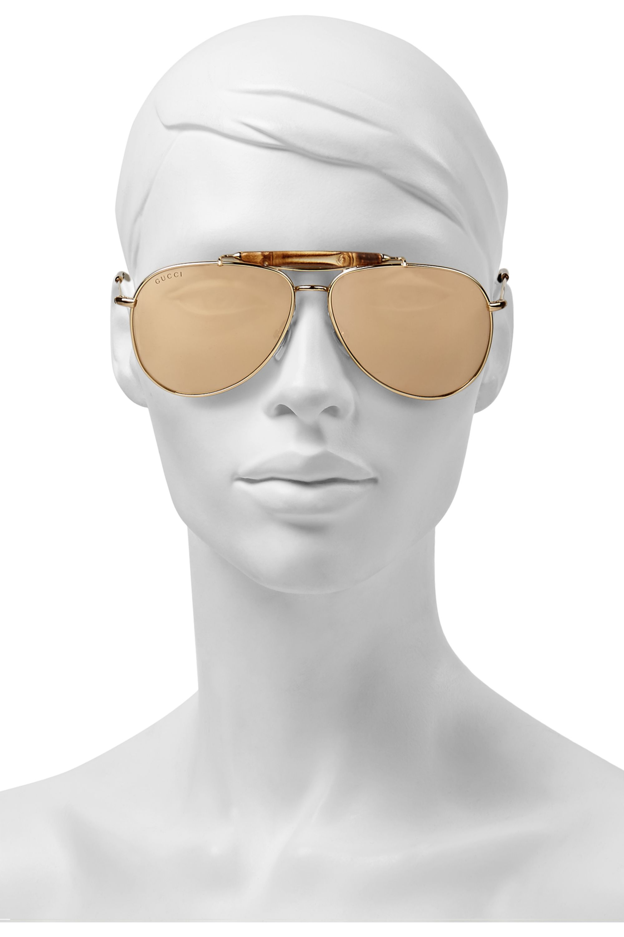 Gucci Aviator-style bamboo and gold-plated sunglasses