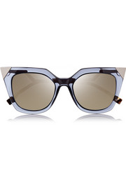 Fendi Embellished cat eye acetate mirrored sunglasses