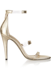 Tamara Mellon Frontline metallic leather and PVC sandals