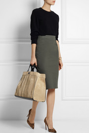 Tamara Mellon Sugar Daddy suede and textured-leather tote