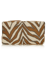 Playboy II zebra-print calf hair clutch