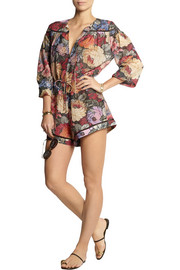 Trinity printed cotton and silk-blend playsuit