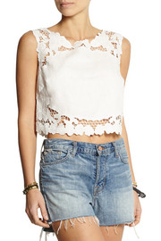 Zimmermann Trinity cropped embroidered linen top