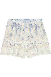 Confetti embroidered cotton-voile shorts