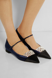 Miu Miu Crystal-embellished satin point-toe flats
