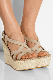 Suede and wood wedge sandals