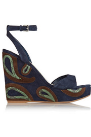 Python-trimmed suede wedge sandals