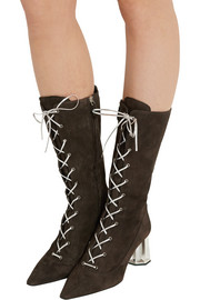 Metallic-detailed suede boots