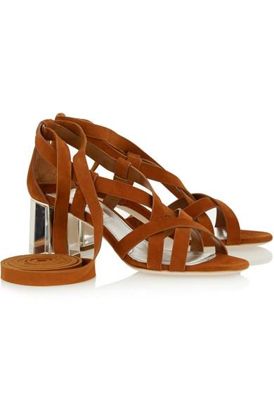 miu miu sandalen aus veloursleder zum schn ren net a. Black Bedroom Furniture Sets. Home Design Ideas