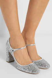 Miu Miu Glitter-finished twill pumps