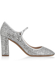 Glitter-finished twill pumps