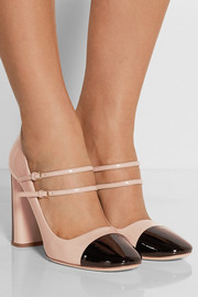 Two-tone patent-leather Mary Jane pumps