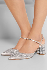 Miu Miu Embellished satin pumps