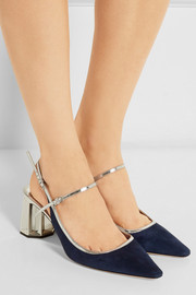 Miu Miu Metallic leather-trimmed suede pumps