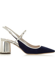 Metallic leather-trimmed suede pumps