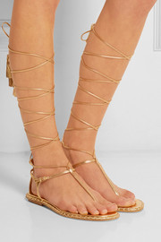 Miu Miu Lace-up metallic leather sandals