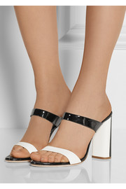 Two-tone patent-leather mules