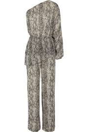 One-shoulder printed silk-chiffon jumpsuit