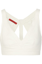 Cutout stretch cotton-blend bra top