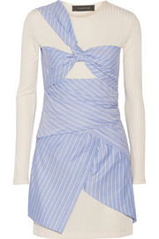 Thakoon Pinstriped cotton-poplin and ribbed jersey mini dress