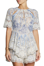 Zimmermann Confetti embroidered cotton-voile top