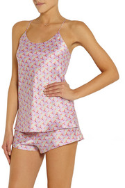 Bella Saori printed silk-satin pajama and eye mask set