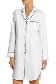 Olivia von Halle Poppy cotton-blend twill nightshirt