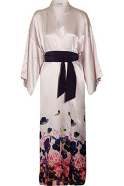 Queenie Misora printed silk-satin robe