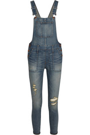 Distressed stretch-denim skinny overalls