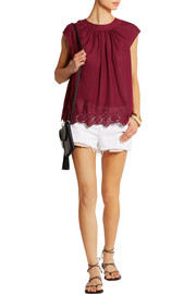 Crocheted lace-trimmed cotton top