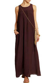 Madewell Shirred crinkled cotton and silk-blend maxi dress