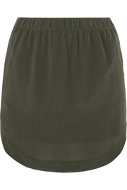Elin washed-silk mini skirt