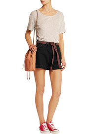 Frayed stretch-denim shorts