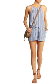 Maui embroidered cotton-chambray playsuit