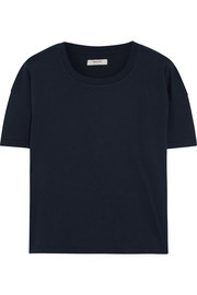 Cropped cotton-jersey T-shirt